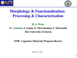 Morphology & Functionalization:  Processing & Characterization R. A. Weiss