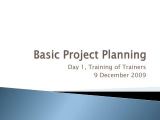 Basic Project Planning
