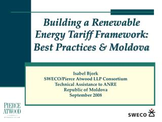 Building a Renewable Energy Tariff Framework: Best Practices & Moldova
