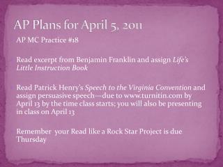 AP Plans for April 5, 2011