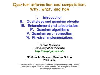Quantum information and computation:  Why, what, and how Introduction