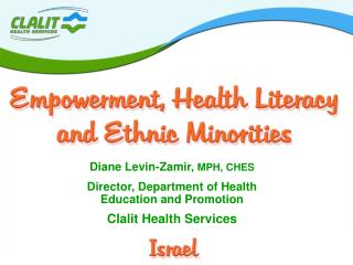 Diane Levin-Zamir,  MPH, CHES  Director, Department of Health  Education and Promotion