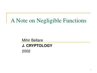 A Note on Negligible Functions