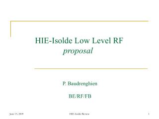 HIE-Isolde Low Level RF proposal