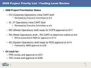 2008 Project Priority List / Funding Level Review
