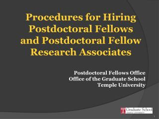 Procedures for Hiring Postdoctoral Fellows and Postdoctoral Fellow Research Associates