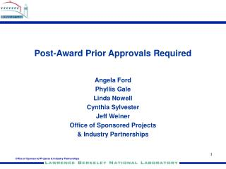 Post-Award Prior Approvals Required