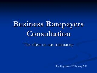 Business Ratepayers Consultation