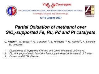 Partial Oxidation of methanol over  SiO 2 -supported Fe, Ru, Pd and Pt catalysts