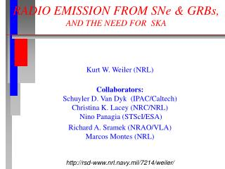 RADIO EMISSION FROM SNe & GRBs,  AND THE NEED FOR  SKA