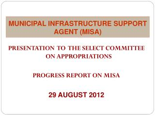 MUNICIPAL INFRASTRUCTURE SUPPORT AGENT (MISA)