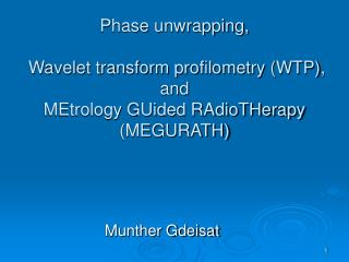 Phase unwrapping,  Wavelet transform profilometry (WTP),  and MEtrology GUided RAdioTHerapy (MEGURATH)