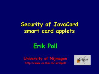 Security of JavaCard  smart card applets