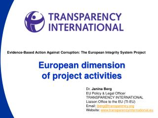 Evidence-Based Action Against Corruption: The European Integrity System Project