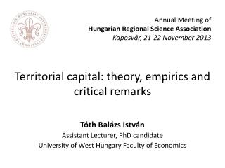 Territorial capital: theory, empirics and critical remarks