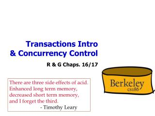 Transactions Intro & Concurrency Control