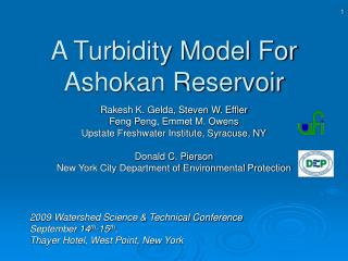 A Turbidity Model For Ashokan Reservoir