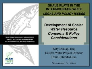 SHALE PLAYS IN THE INTERMOUNTAIN WEST:   LEGAL AND POLICY ISSUES