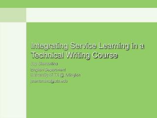 Integrating Service Learning in a Technical Writing Course