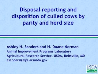 Disposal reporting and disposition of culled cows by parity and herd size