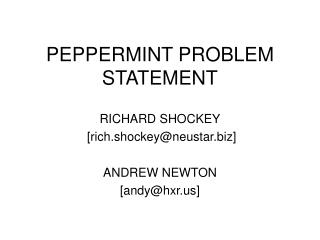 PEPPERMINT PROBLEM STATEMENT