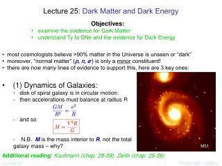 Lecture 25:  Dark Matter and Dark Energy