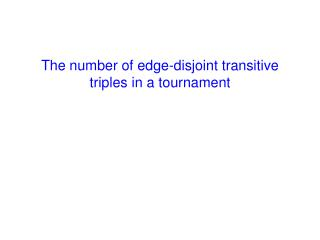 The number of edge-disjoint transitive triples in a tournament