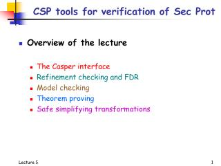 CSP tools for verification of Sec Prot