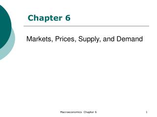 Markets, Prices, Supply, and Demand