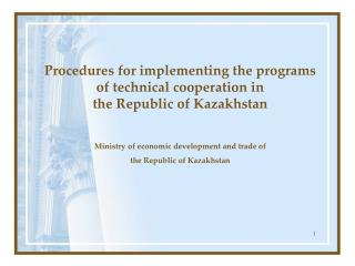 Procedures for implementing the programs of technical cooperation in  the Republic of Kazakhstan