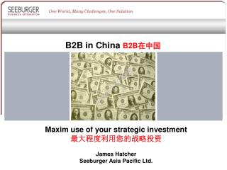 Maxim use of your strategic investment 最大程度利用您的战略投资
