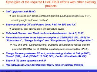 Synergies of the required LHeC R&D efforts with other existing projects