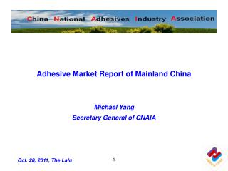 Adhesive Market Report of Mainland China Michael Yang Secretary General of CNAIA