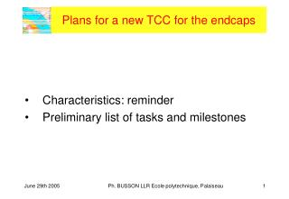 Plans for a new TCC for the endcaps