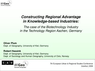 Oliver Plum Dept. of Geography, University of Kiel, Germany Robert Hassink