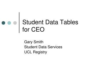 Student Data Tables for CEO
