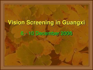 Vision Screening in Guangxi