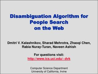 Disambiguation Algorithm for  People Search  on the Web
