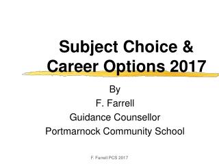 Subject Choice & Career Options 2017