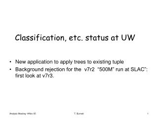 Classification, etc. status at UW