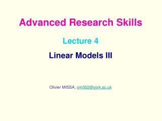 Lecture 4  Linear Models III