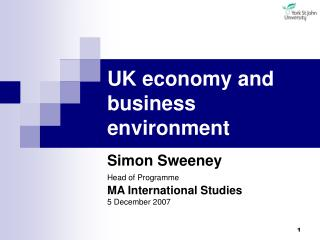 UK economy and business environment