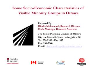 Some Socio-Economic Characteristics of Visible Minority Groups in Ottawa