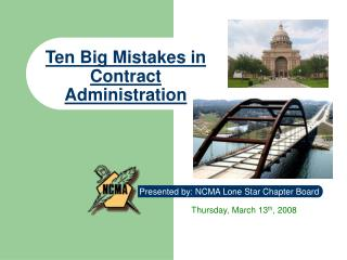 Ten Big Mistakes in Contract Administration