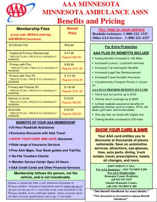 AAA MINNESOTA      MINNESOTA AMBULANCE ASSN Benefits and Pricing