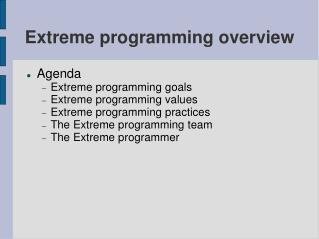 Extreme programming overview