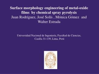 Surface morphology engineering of metal-oxide films  by chemical spray pyrolysis