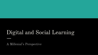 Digital and Social Learning