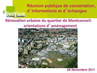Rénovation urbaine du quartier de Montconseil: orientations d ' aménagement