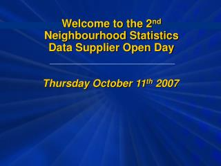 Thursday October 11 th  2007
